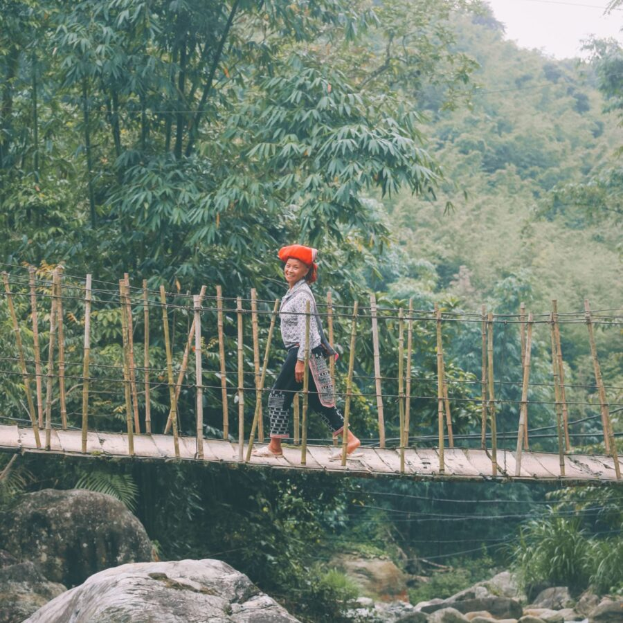 Red Dzao Women on Bridge